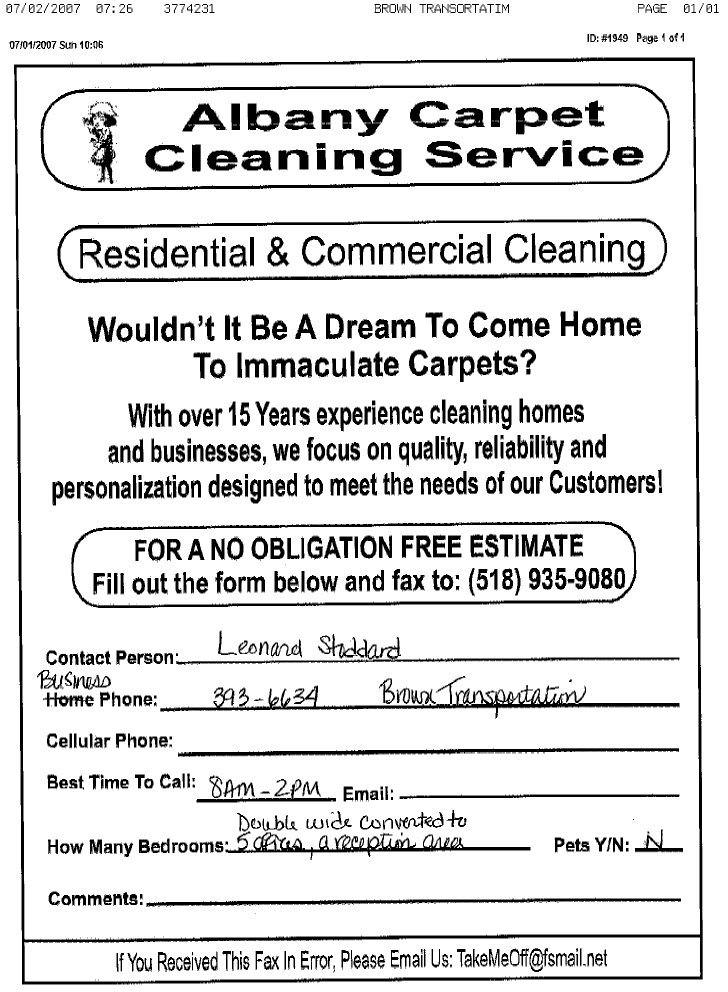 Free Carpet Cleaning Estimate Template - Page 2 - Carpet