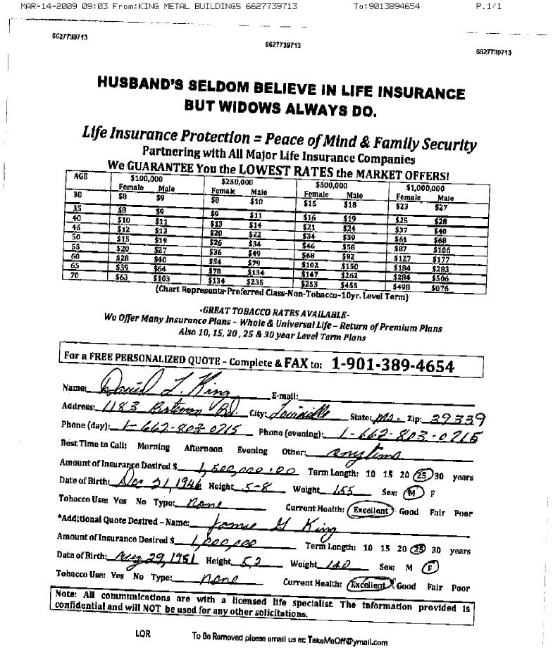 Life Insurance Quotes California: Fax Broadcast Sales Leads