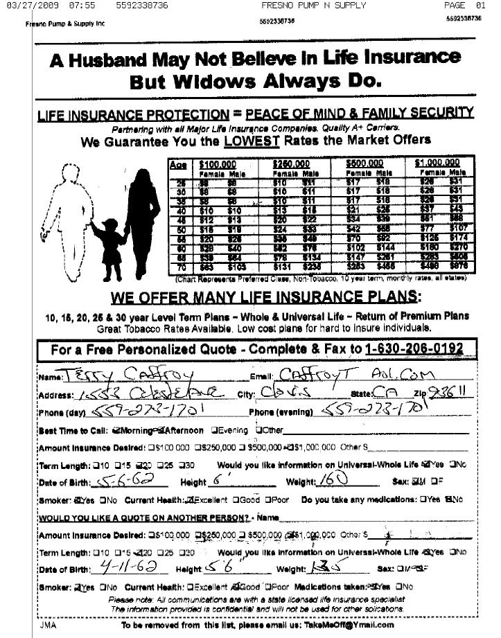Fax Blast For Life Insurance Leads For Sales