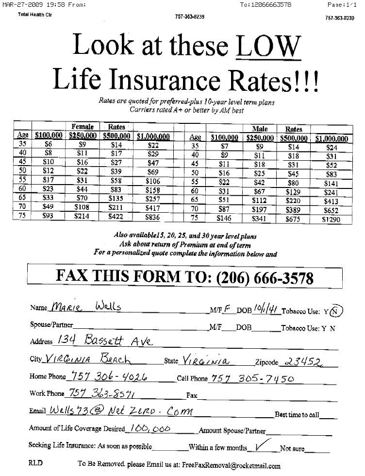 Life Insurance Sales Leads Sample Fax Advertising