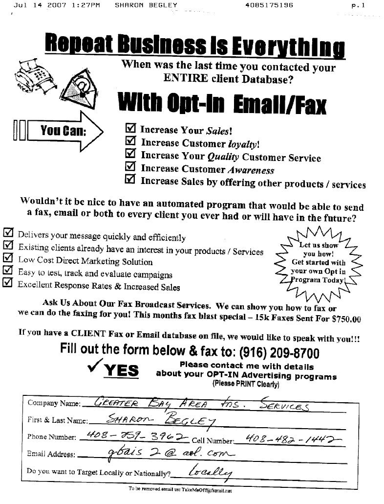 Fax Broadcast Sales Leads - Fax examples Ads / Advertisements